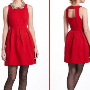 Moulinette Soeurs Anthropologie Red Brocade Dress